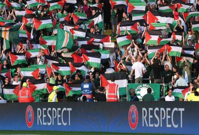 جماهير فريق اسكتلندي يواجهون إسرائيل بعلم فلسطين